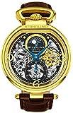 Stührling Original Reloj Esqueleto para Hombre Reloj Automático con Banda de Piel de becerro y Doble Tiempo, AM/PM Sun Moon