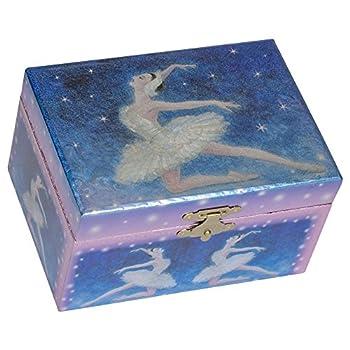 Metallic Dark Blue Ballerina Dancing Papier Musical Jewelry Box Plays Swan Lake