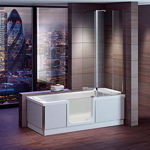 Badewanne mit Tür, Seniorenbadewanne 170x75x57,5cm mit Duschkabine,Wannenschürze und Ablauf/Sifon,...