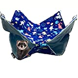 FULUE Ferret Rat Hammock Bed Chew Proof Nation Cage Accessories Kit Set Staff House and Hideouts Cave for Guinea Pig Ferret 13.8inch