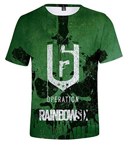 qingning Rainbow Six Siege T Shirt 3D Drucken Regenbogen Sechs Spiel Cosplay Tee