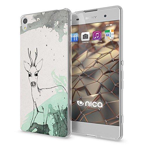NALIA Handyhülle kompatibel mit Sony Xperia XA, Slim Silikon Motiv Hülle Phone Cover Crystal Schutzhülle Dünn Durchsichtig, Etui Handy-Tasche Transparent, Backcover Bumper, Designs:Deer