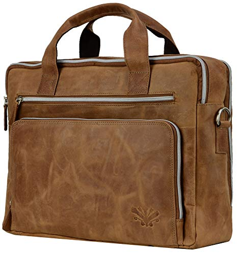 FEYNST Leder Aktentasche Laptoptasche Ledertasche Notebooktasche Schultertasche Studenten Tasche Umhängetasche Uni Vintage A4 Herren Damen Braun