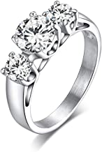 LEEYA NL36 Womens 6MM Titanium Stainless Steel High Polishd 18K Channel Set Cubic Zirconia CZ Promise Engagement Band Unisex Gold Wedding Ring Comfort Fit, (7)