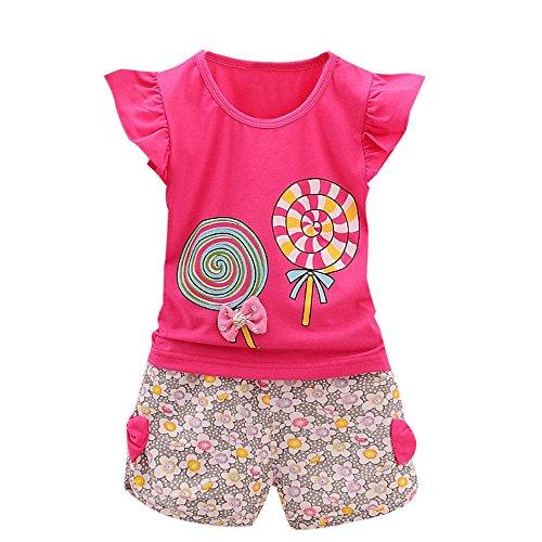 YWLINK 2PCS MäDchen Süß Outfits Lolly RüSchen KappenhüLse T-Shirt Tops + Blume Drucken Kurze Hosen Urlaub Strand Set(Heiß Rosa,100)