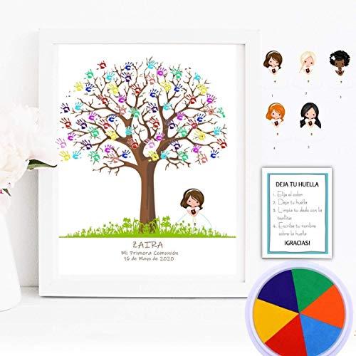 Cuadro de árbol de huellas con niña de comunión. Varios tamaños y colores de marco.Tintas e instrucciones incluidas. Invitaciones y Banner a juego si deseas.
