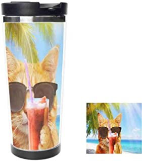 Funny Cat Cocktail Beach Insulated Water Bottle Stainless Steel Double Wall, Palm Tree Sea Animal Vacuum Thermos Flask Bottles Sports Coffee Travel Mug Cup 14oz,400ML