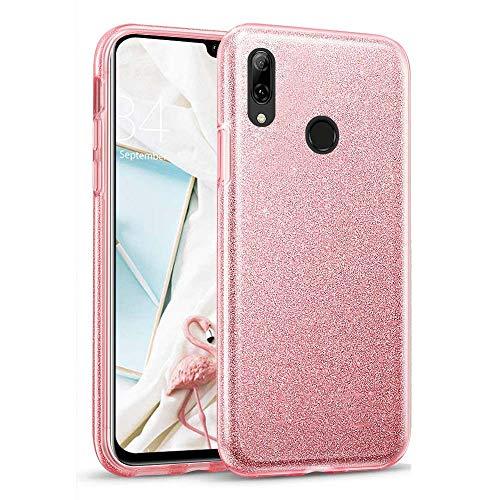 Glitter Crystal Compatible con Funda Huawei P Smart 2019, Brillo Bling Brillante Purpurina Diamantes Carcasa Ultrafino Suave Silicona TPU y Dura PC Bumper Case Cover - Rosa