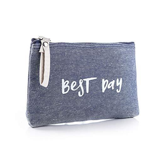 Women Best Day Letters Zipper Cosmetic Bag Coin Purse Wallet Handbag (D)
