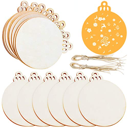 Jolik 100pcs Christmas Wooden Ornaments Unfinished 3.5' Blank Wood Discs for Kids DIY Crafts Centerpieces Holiday Hanging Decorations
