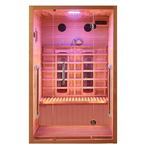 Cabina a infrarossi Visio 2 con faretto in ceramica, esterno in legno di cedro