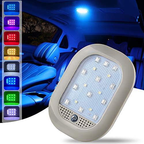 Teguangmei Luz de Techo Para Interior de Coche, 8 Colore USB Recargable Luz de Pared de Inalámbrico con Control de Voz, para Armario Camping Dormitorio Coche Interior Lectura Luz de Matrícula