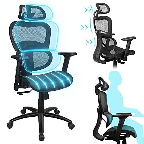 Komene Ergonomic Office Chair High Back Mesh Desk Chairs,Swivel Computer Chair Lumbar Support Modern Executive with 3D Armrests Adjustable Headrest Rolling Home Office Chair