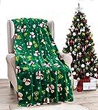 Decor&More NobleHouse Velvet Touch Holiday Throw Fleece Blanket (50' x 60') - Green Snowman