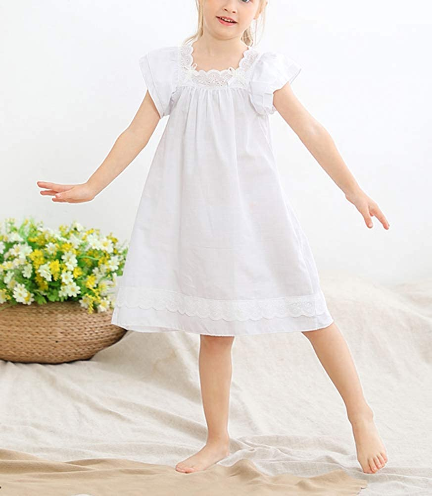 Victorian Kids Costumes & Shoes- Girls, Boys, Baby, Toddler CHUNG Toddler Little Girls Cotton Nightgowns Princess Sleep Dress Short Sleeve Embroidery Pajamas Summer Vintage Gown $18.98 AT vintagedancer.com