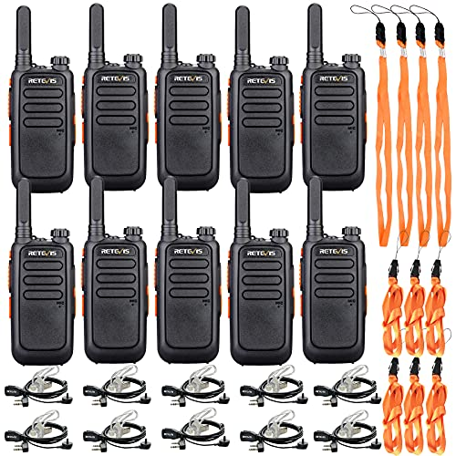Retevis RT69 Walkie Talkies for Adults,Two Way Radios Long Range Rechargeable,Neck Lanyard Flashlight,Small 2 Way Radio with Earpieces,Commercial Education Community(10 Pack)