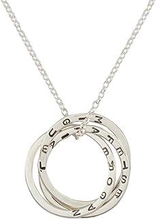 Colgante Ruso personalizado tres anillos entrelazados de plata esterlina,