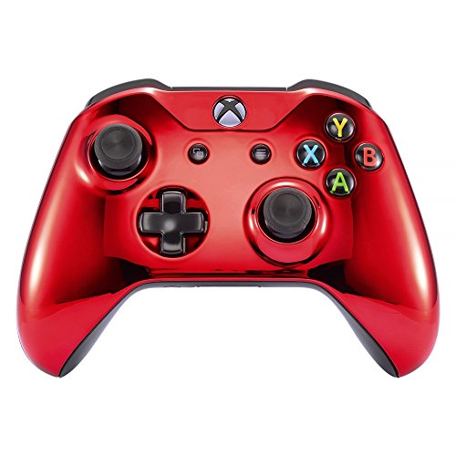 eXtremeRate Obere Case Hülle Schutzhülle Cover Oberschale Skin Schale Gehäuse Shell für Xbox One S/Xbox One X Controller(Chrome Rot)