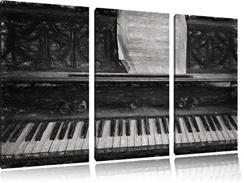 Piano met bladmuziekFoto Canvas 3 deel | Maat: 120x80 cm | Wanddecoraties | Kunstdruk | Volledig gemonteerd