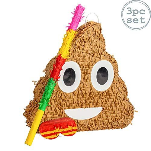 Fax Potato Poop Emoji Pinata Set mit Stick & Blindfold | 45 x 10 x 45 cm - Braun