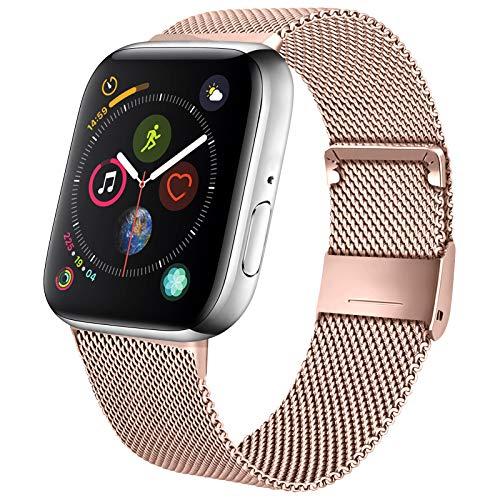 Mugust Metallo Cinturino Compatibile con Apple Watch 38mm 40mm 42mm 44mm, Magnetico Cinturini di Ricambio Traspirante in Acciaio Inossidabile per iWatch SE Series 6 5 4 3 2 1 (42/44 mm)