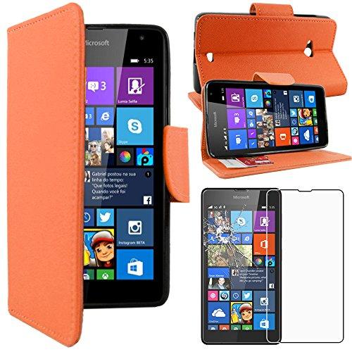 ebestStar - Cover Compatibile con Microsoft Nokia Lumia 535 Custodia Portafoglio Pelle PU Protezione Libro Flip, Arancione + Pellicola Vetro Temperato [Apparecchio: 140.2 x 72.4 x 8.8mm, 5.0'']