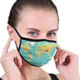 Outdoor Windproof mask,Map of The World Geography Continents and Countries Physical Cartography Image,Facial Decorations for Adult Unisex Seniors-4593