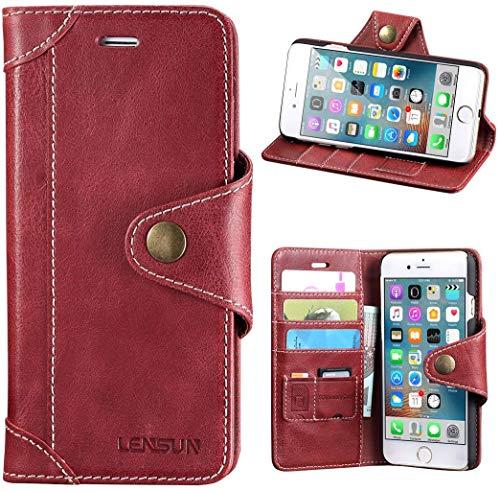 Lensun Cover iPhone 7 Plus, Cover iPhone 8 Plus, Vera Pelle Cuoio Custodia Genuino Annata a Portafoglio con Chiusura Magnetico per iPhone 7/8 Plus 5.5' – Rosso Vino (7P-GT-WR)