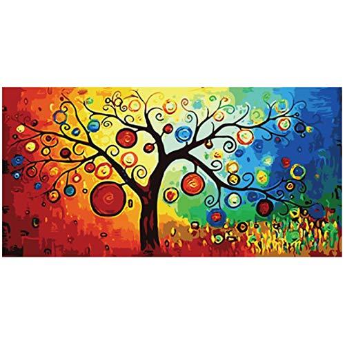Impresión en lienzo Árbol de la vida Árbol del dinero Pintura al óleo abstracta sobre lienzo Carteles e impresiones Imagen de arte de pared Sala de estar Decoración 60x120cm/23.6 'x47.2' Sin marco