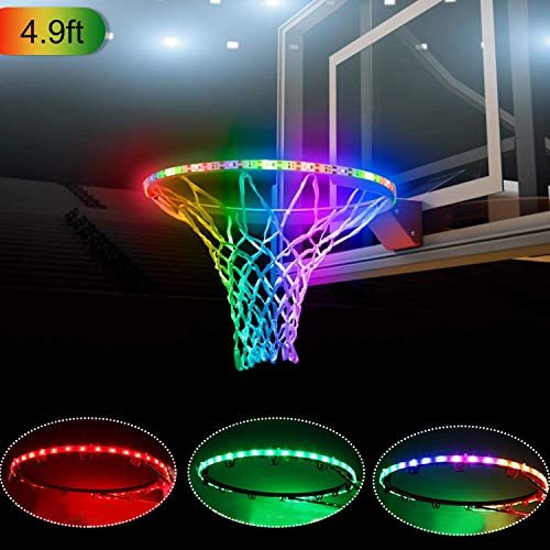 LED Basketball Hoop Lights – Solar Basketball Rim LED Light Waterproof - Perfect for Playing at Night Outdoors - Ideal for Kids Adults Training Games 59 inchs Lights up Basketball Rim(RGB-4.9ft)
