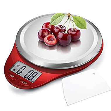 NUTRI FIT Digital Kitchen Scale with Dough Scraper, High Accuracy Multifunction Food Scale with Fingerprint Resistant Coating,Tare & Auto Off Function Red