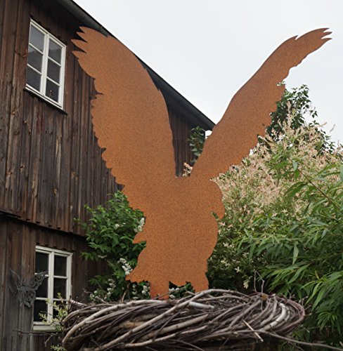 BADEKO Edelrost Bausatz Adler mit kurzen Metallstäben 75 cm Gartenfigur Greifvogel