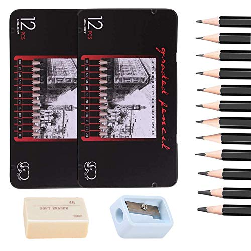 Johiux Professional Bleistift Set und Zeichnung Bleistifte, 24 StückSketching Pencils 8B -2H, Kunststift Perfekt für Anfänger, Kinder oder professionelle Künstler, Radiergummis und Anspitzer (2 boxes)