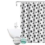 MERCURY TEXTIL- Cortina de baño de diseño Moderno, Tela Impermeable, Resistente y antimoho. Cortina de Ducha para baño 180X180cm. (Estrella)
