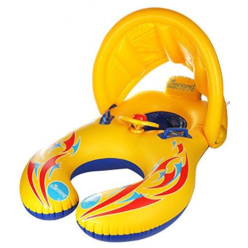 Doppel schwimmring Schwimmhilfen Schwimmen Ring für Baby von 6 Monaten bis 2 Jahre und Mutter Aufblasbare Schwimmreifen Schwimmen Ring Pool Boot Spielzeug Sonnenschutz und UV-Vorbereitung (Gelb(2))