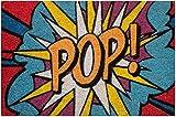 Zerbino da Esterno in Cocco con Base in PVC Dipinto a Mano Raffigurante Pop Art Smash 60X40X2 cm. Facile da Pulire e Ultraresistente
