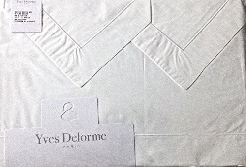 Sheet Set Yves Delorme Embroidered Luxury Queen White Egyptian Cotton Percale Made in France
