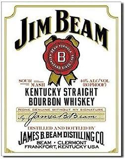 SRongmao Nostalgic Jim Beam White Label Bourbon Whiskey Retro Emobssed Metal Tin Sign 8x12in