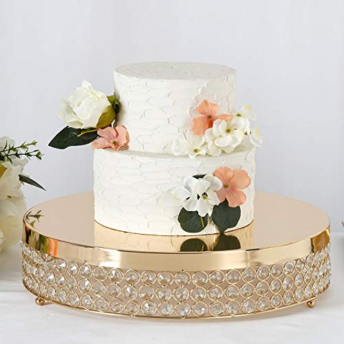 Efavormart Gold Grand Wedding Beaded Crystal Metal Cake Centerpiece Stand Wedding Party Rise Cake Display Stand - 15.5' Diameter