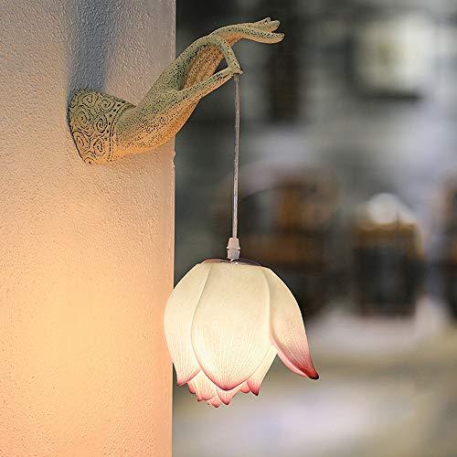 Yangmanini Lámpara De Pared del Arte Zen A Izquierdas Lotus LED, Creative Luz Decorativa For Sala De Estar/Hotel/Club/Corredor/Pasillo/Restaurante/Dormitorio De Noche