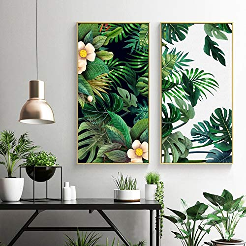 Dass 2 Pieces Canvas Painting Fresh Green Large Leaves Tropical Plants Scandinavian Style Canvas Print, Living Room Art Modular Posters And Prints No Frame (Size : 50x90cm No Frame)