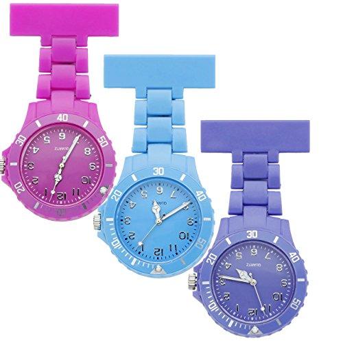 JSDDE Uhren Einfache Schwesternuhren Candy Farbe Krankenschwesteruhr FOB-Uhr Silikon Hülle Pulsuhr Pflegeuhr Brosche Taschenuhr Ansteckuhr Analog Quarzuhr (Rosarot+Himmelblau+Lila)