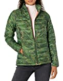 Amazon Essentials Women's Lightweight Long-Sleeve Full-Zip Water-Resistant Packable Puffer Jacket, Green Camo, Large