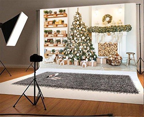 YongFoto 1,5x1m Vinyl Foto Hintergrund Weihnachten Baum Geschenke Kamin Garland Vitrine Interieur Fotografie Hintergrund für Fotoshooting Portraitfotos Party Kinder Hochzeit Fotostudio Requisiten