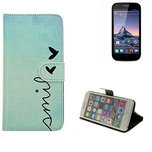 K-S-Trade® Schutzhülle Für Wiko Cink Peax 2 Hülle Wallet Case Flip Cover Tasche Bookstyle Etui Handyhülle ''Smile'' Türkis Standfunktion Kameraschutz (1Stk)