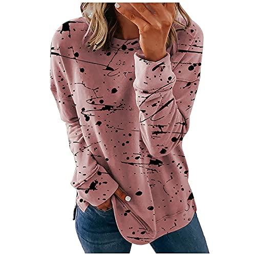 NAQUSHA Camiseta de manga larga para mujer, para otoño, invierno, moda para el tiempo libre, cuello redondo, tinta, estilo estampado, talla grande, Rosa., S