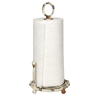 Colonial Tin Works Paper Towel Holder Kitchen Supplies, 15  tall and 7  diameter, vintage white