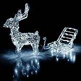 Multistore 2002 Leuchtendes Rentier mit Schlitten für den Innen- und Aussenbereich 64 LEDs kalt-weiß Weihnachtsdeko Gartendeko Gartenbeleuchtung