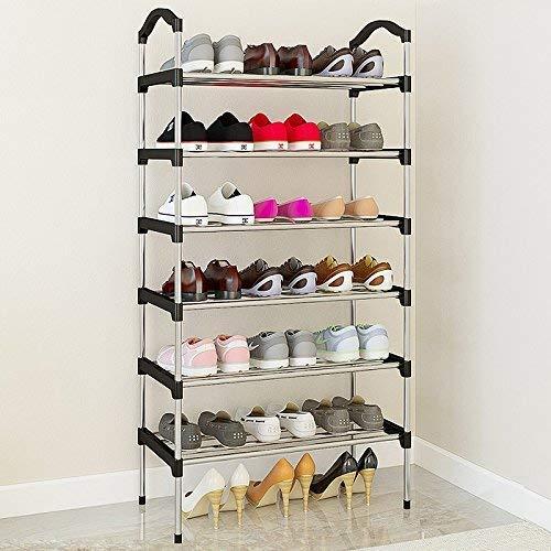 Zapatero, Zapatillas a prueba de polvo Gabinete de zapatos apilables, conector de plástico y soporte de zapatos de tubos de acero, organizador de pie, cromo negro (tamaño: 7 niveles) ( Size : 6 tier )