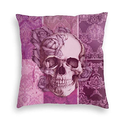 MayBlosom Fundas de cojín de terciopelo suave con diseño de calavera de damasco, color rosa y morado, para sofá, dormitorio, coche, con cremallera invisible, 45,7 x 45,7 cm